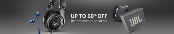Amazon Audio Sale - Up to 60% off on  headphones and speakers.