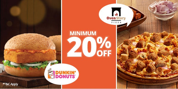 Oven Story Offer : Get 20% off on Pizzas