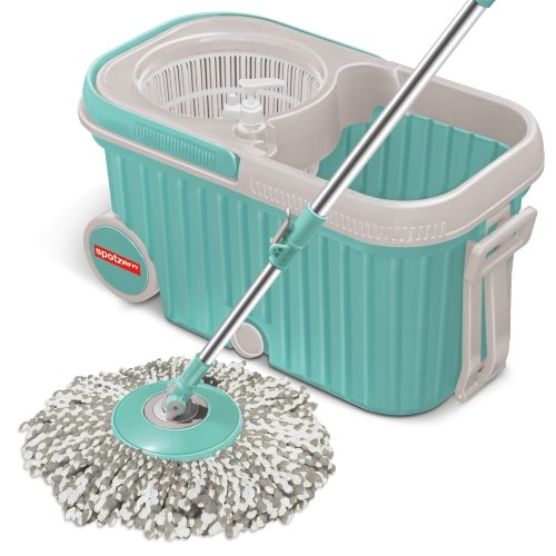 Amazon Offer : Spotzero by Milton Elite Spin Mop with Bigger Wheels & Auto Fold Handle for 360 Degree Cleaning (Aqua Green, Two Refills) at Rs.888