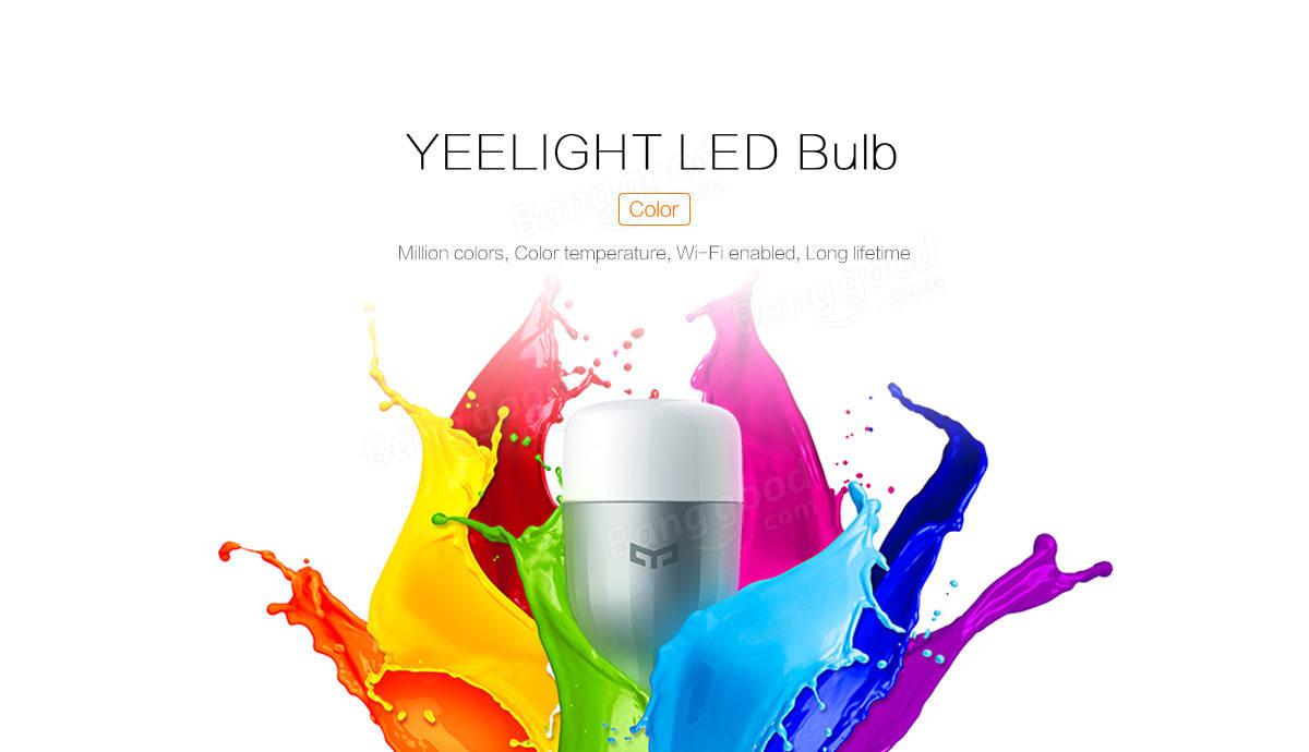 Bangdood Offer :Original Xiaomi Mi Yeelight 9W RGB E27 LED Wireless WIFI Control Smart Light Lamp Bulb AC220V at Rs.1101.82