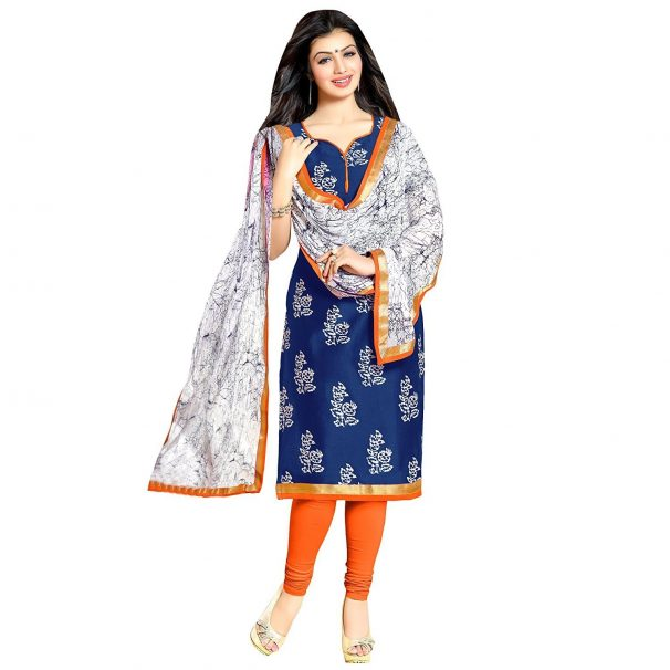Fashion Vogue Women's Blue Colour Cotton Printed Dress Material New Collection @ Rs.399
