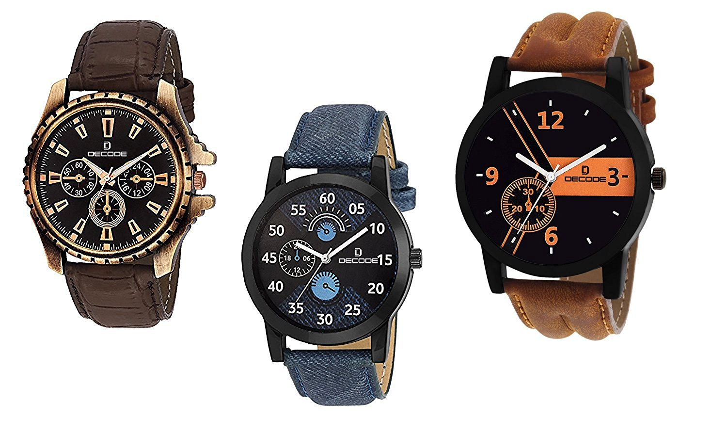 Amazon Offer : Decode Combo of 3 Analogue Multicolor Dial Mens and Boys Watches-Combo of 3 Exclusive Watches at Rs.539