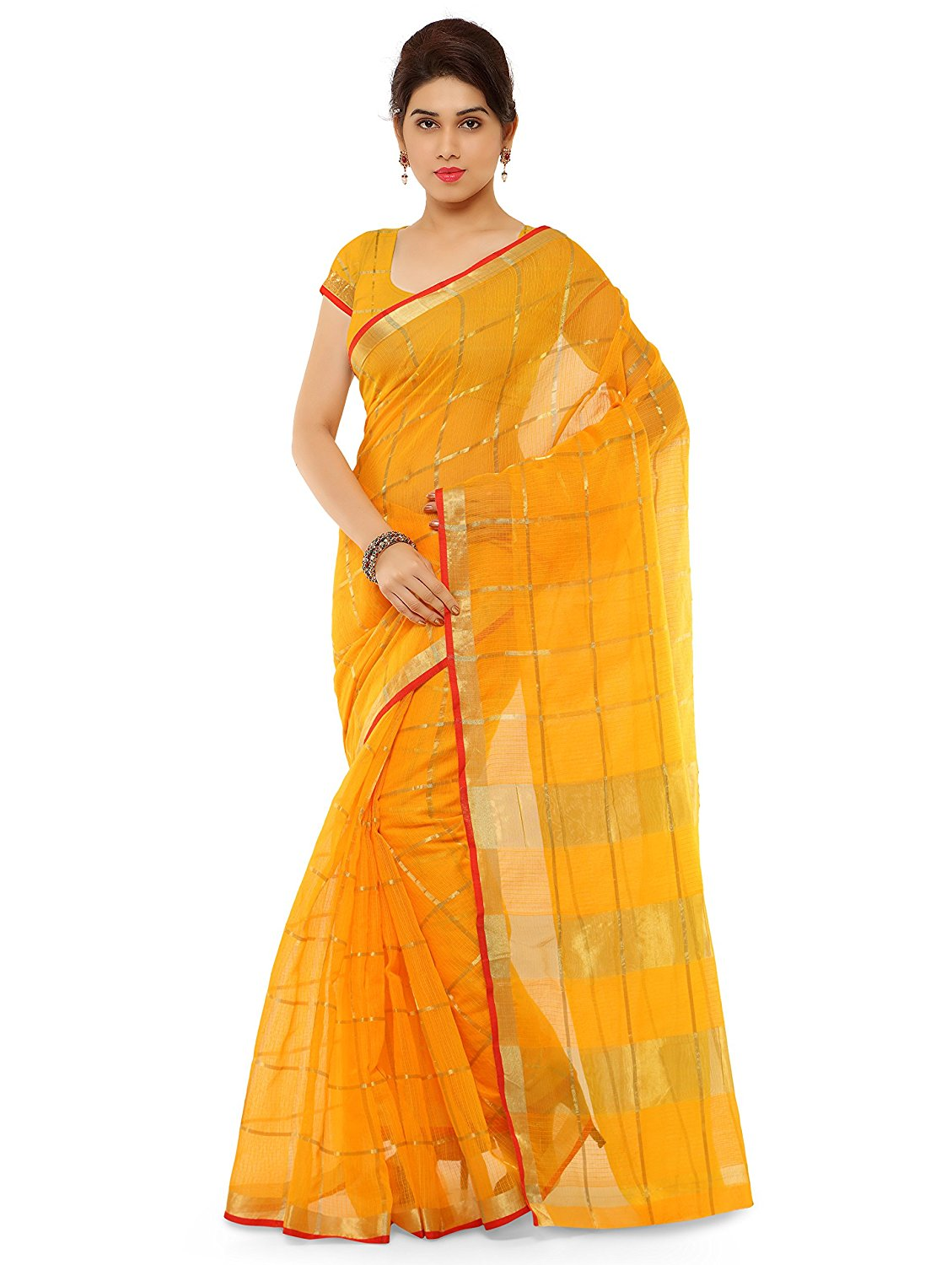 Amazon Offer : Kvsfab Women's Cotton Silk Saree,Yellow at Rs.539