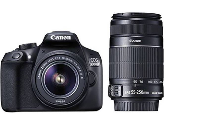 eBay India Offer : Buy Canon EOS 1300D DSLR Camera with 18-55 and 55-250mm IS II Lens, 16GB Card at Rs. 34,990
