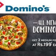 Dominos Offer : Get 2 medium pizzas at Rs. 199 each