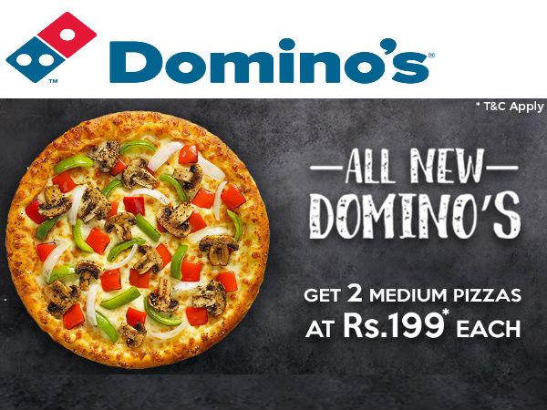 Dominos Offer : Get 2 medium pizzas at Rs. 199 each