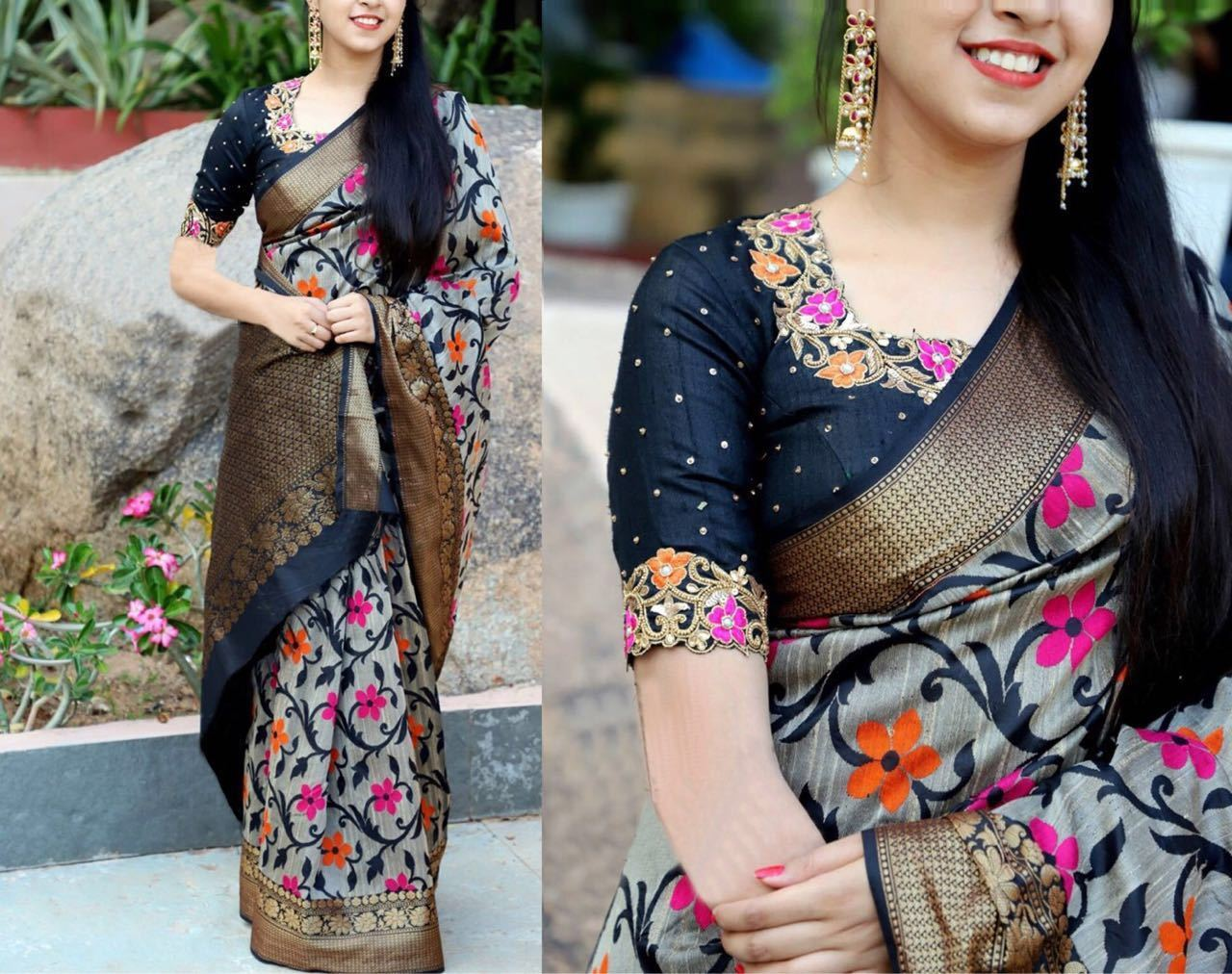 eBay Offer : Gorgeous Multi Colour Indian Saree Fabric Bhagalpuri Silk Printed Fashion Saree at Rs.749.00