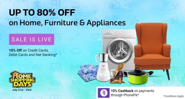 Flipkart ( New Pinch Days )Offer : Get upto 70% off on TVs, Home and Kitchen Appliances
