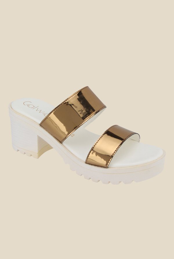 Tatacliq Offer : Catwalk Golden & White Casual Sandals at Rs.999