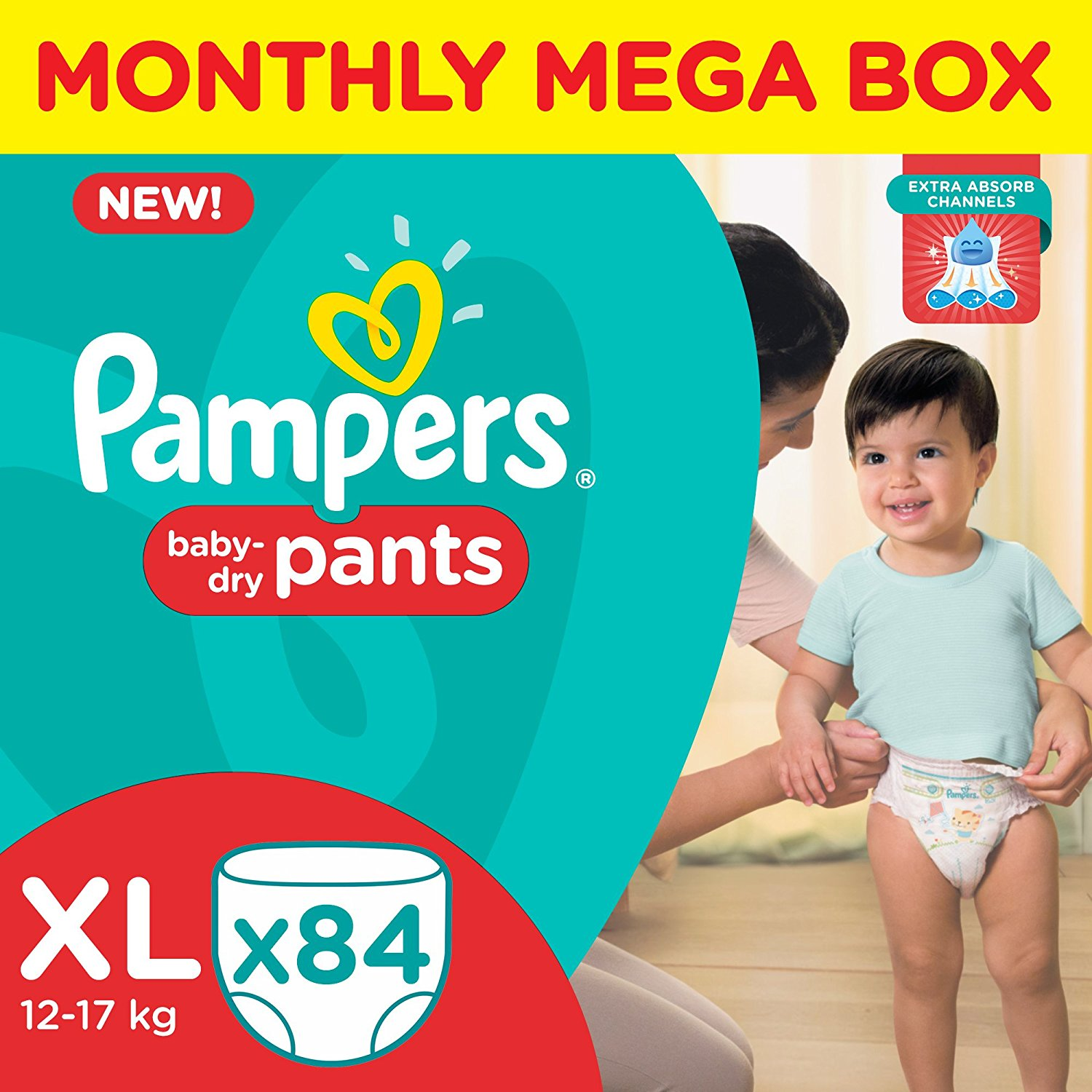 Amazon Offer : Buy Pampers XL Size Diapers Pants Monthly Pack (84 Pieces) at  Rs.1,102.00