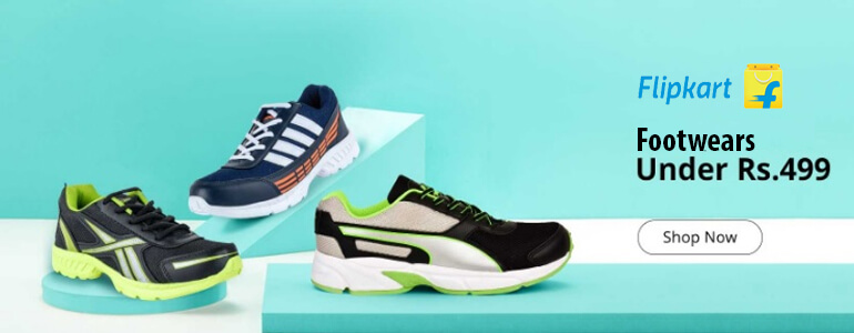 Flipkart Offer : Buy Sports Shoes And More Mens Footwear under Rs.499