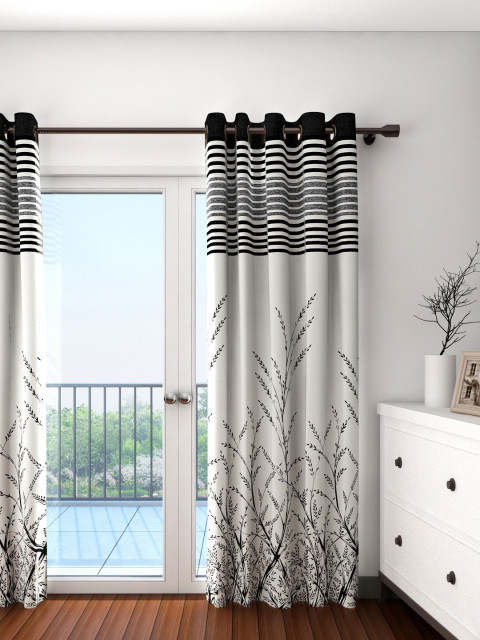 Myntra : Cortina Off-White & Black Single Patterned Blackout Door Curtain at Rs.839