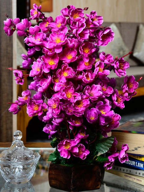 Myntra Offer : Fancy mart Purple & Brown Artificial Cherry Blossom Plant with Pot at Rs.578