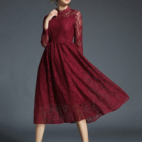 Shein : Scallop Neck Lace Dress at Rs.1792