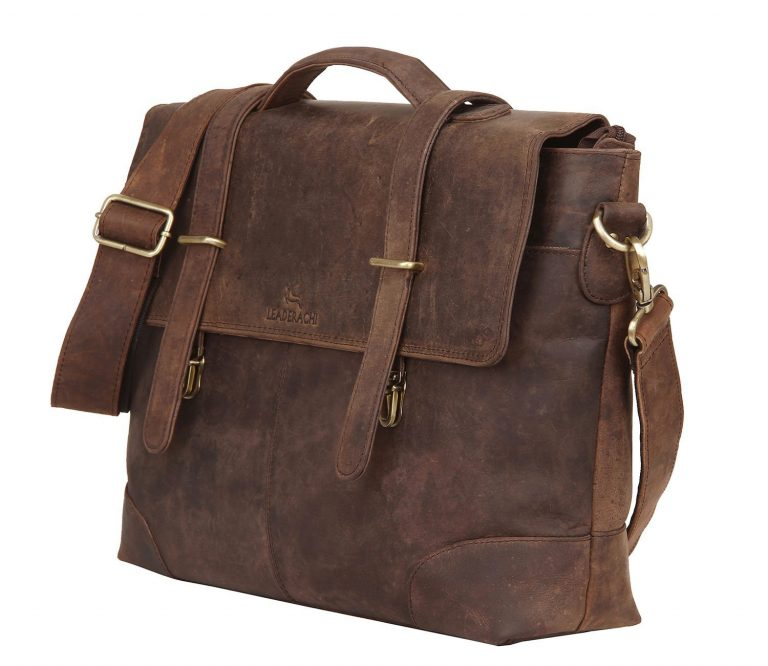 Amazon India : Leaderachi-100% Genuine Hunter Leather Laptop Briefcase Bag at Rs.3,199.00
