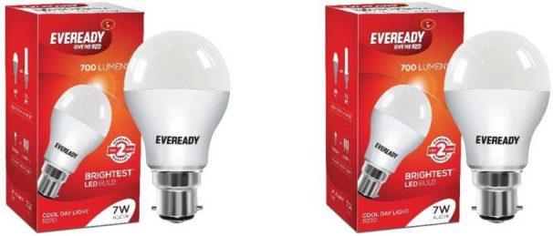 Flipkart : Eveready 7 W B22 LED Bulb  (White, Pack of 2) at Rs.179