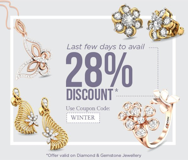 Candere Offer : Get 28 % off on Diamond & Gemstone Jewellery