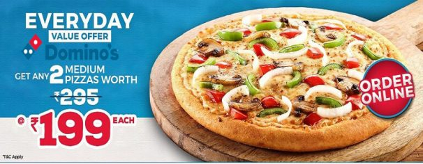 Dominos Offer : Buy 2 Medium Hand Tossed Pizzas of Rs. 450 for Rs. 299 each