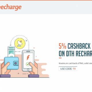 FreeCharge Offer : Get 5% cashback on DTH Recharges