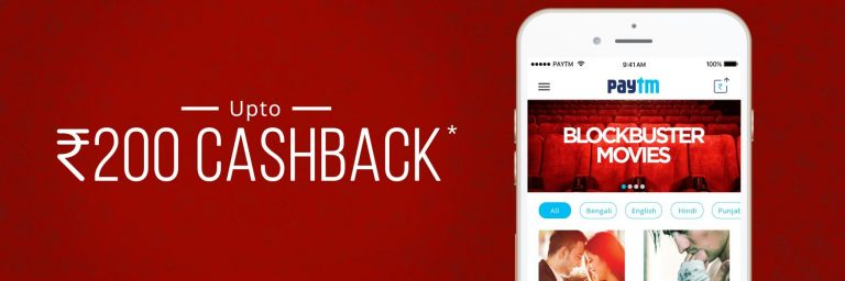 PayTM Offer : Get upto Rs. 200 cashback on Movie Booking ticket