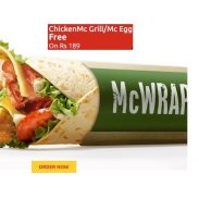 McDonalds:Get Free Saucy Wrap, McAloo, McEgg on Rs.189