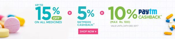 Netmeds Offer : Get 15% off on minimum order value of Rs. 1000
