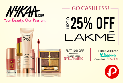 Nykaa Offer : Get upto 25% off on Lakme