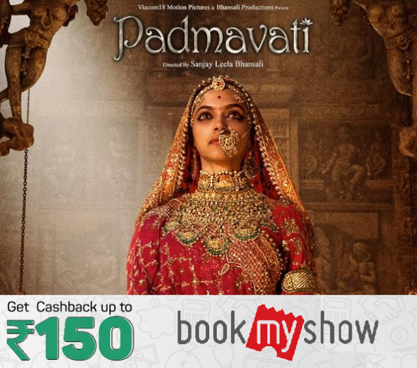 Bookmyshow : Get Rs.150 cashback on Padmaavati movie using Amazon Pay