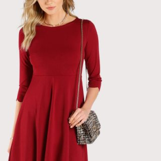 Shein : Scallop Trim Fit & Flare Dress at Rs.768