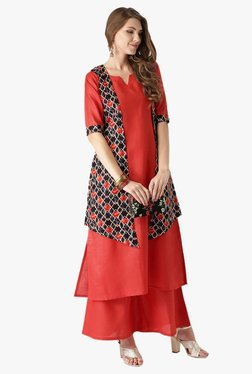 TataCliQ Offer : Libas Red Printed Cotton Kurta, Jacket With Palazzo at Rs.1149
