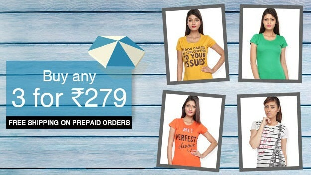 Vishal Megamart  Offer : Get 3 Women's T-shirts at Rs. 279