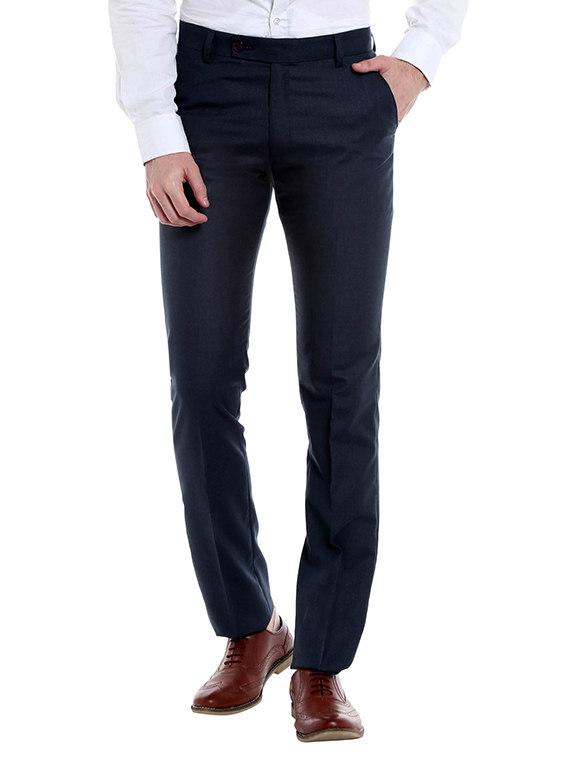 Limeroad Offer : Dark Blue Viscose Flat Front Formal Trouser at Rs.749