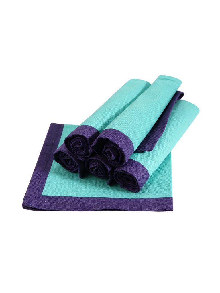 """Myntra : Sanjeev Kapoor Bon Appetit Blue Set of 6 Square (16"""" x 16"""") Cotton Table Napkins at Rs.639"""