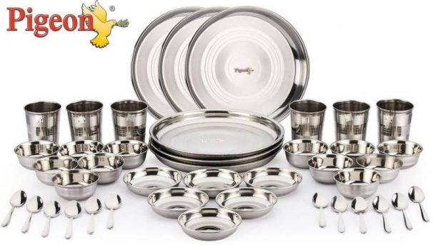 Flipkart : Pigeon Lunch Set Pack of 42 Dinner Set  (Stainless Steel) at Rs.2683