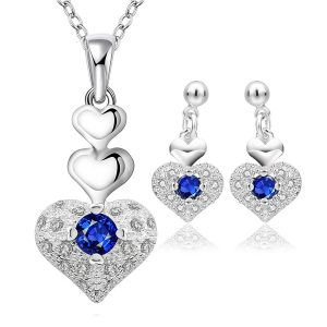 Amazon India : Yellow Chimes Rich Royal Heart Austrian Crystal Blue Silver Pendant Set for Women and Earrings at Rs.539