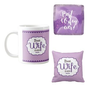 Amazon India : TYYC Valentines Day Gifts for Wife, Best Wife Ever Coffee Mugs for Wife Hamper Set of 3 with Mug, Cushion Cover and Coaster at Rs.499