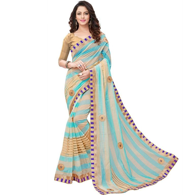 Amazon India : V.Clothy Women's Cotton Silk Saree With Blouse Piece (V_Sb_ Sarees For Women's Party Wear_Sky Blue) at Rs.846