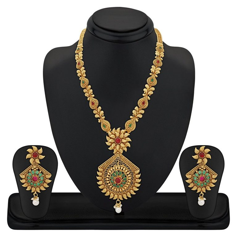 Amazon India : Reeva Copper Long Necklace Set With Pearl Drop And Colourful Stones For Women at Rs.1103