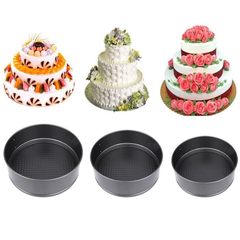 Amazon India : Agromech Teflon Coated Spring form Cake Mould Pan Set , Baking tray , Removable Cake Mould , 3 Pcs , Black at Rs.498.00