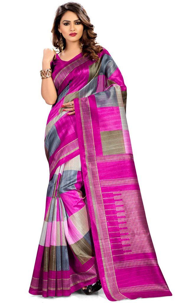 Amazon India : Miraan Kora Silk Saree (Pc5524_Pink) at Rs.568.39