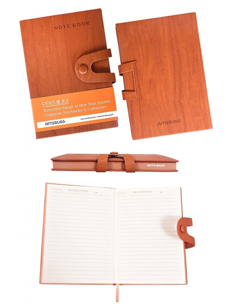 PaperKart : Amsburg Oak Wooden Finish PU Leather Writing Notebook (Date Less) at Rs.349
