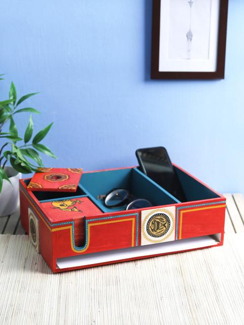 Amazon India : VarEesha Red Wood Handpainted Desk Organiser at Rs.1666