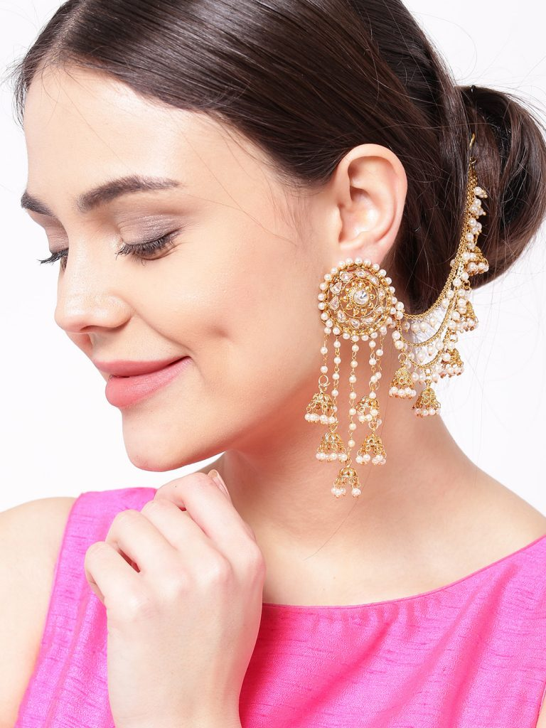 Myntra : Priyaasi Off-White 18K Gold-Plated Beaded Handcrafted Jhumkas with Ear Chain at Rs.600