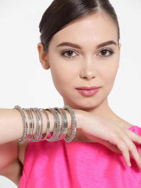 Myntra : YouBella Set of 38 Oxidised Silver-Toned Bangles at Rs.599