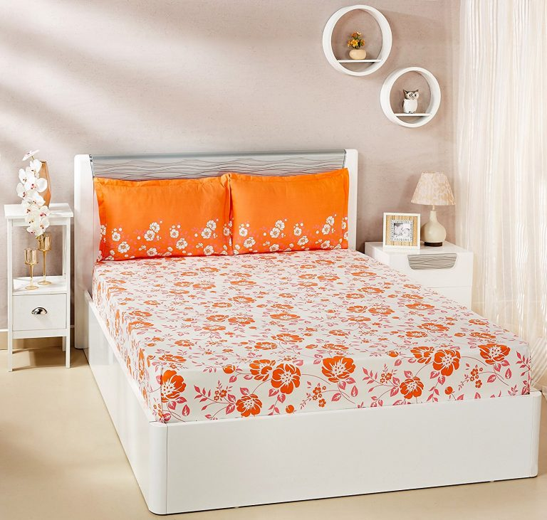 Amazon India : Solimo Jasmine Zest 100% Cotton Double Bedsheet with 2 Pillow Covers, Orange at Rs.595