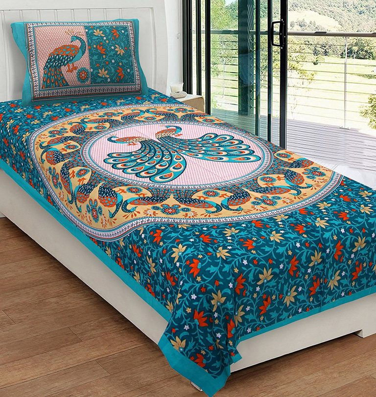 Amazon India : Rajasthani Kart Classic 144 TC Cotton Single Bedsheet with Pillow Cover - Abstract, Green at Rs.299