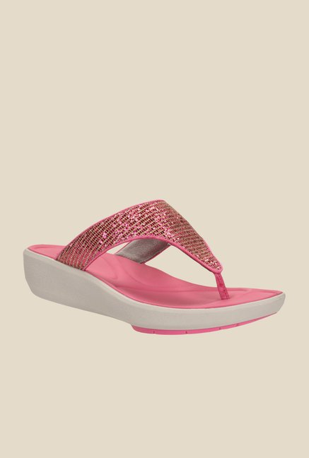 TataCliQ : Clarks Wave Dazzle Golden & Pink T-Strap Wedges at Rs.2499