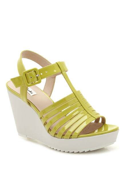 TataCliQ : Clarks Scent Lily Lime Green T-Strap Wedges at Rs.2199