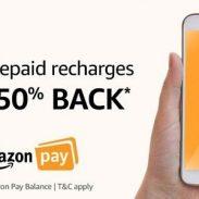 Amazon: 50% Cashback offer on Recharge