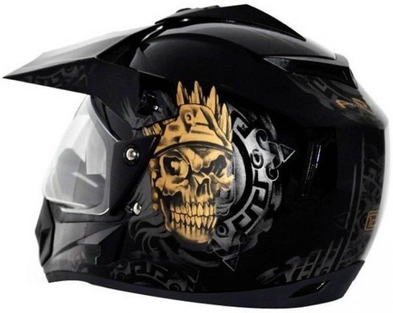 Flipkar : Vega Off Road Ranger Motorsports Helmet  (Dull Black Golden) at Rs.2076